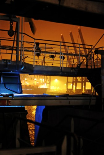 MS Stubnitz leaving port of Hamburg